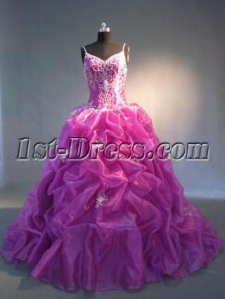 2013 Luxurious Fuchsia Quinceanera Gown Dresses with Large Train IMG_3749