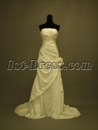 Affordable Strapless A-line Bridal Gown with Floral 350