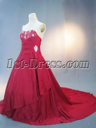 Asymmetric Burgundy Large Size Bridal Gown IMG_3259