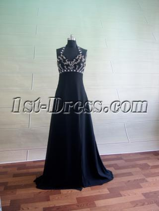 Black Halter Pretty Prom Dresse 5044