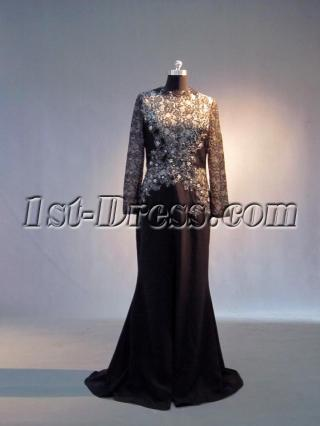 Black and Champagne Long Sleeves Mother of Bride Gown IMG_3647
