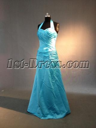 Blue Halter Simple Graduation Dress IMG_0247