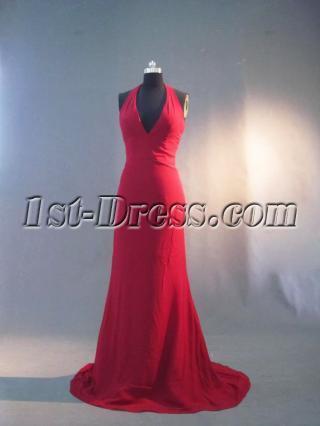 Burgundy Halter Simple Formal Evening Dress IMG_3242