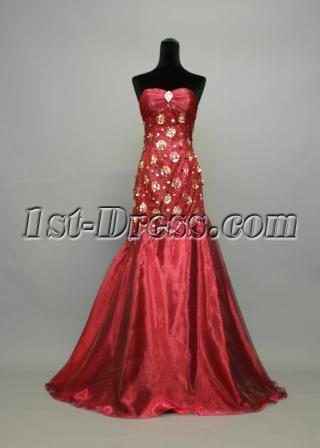 Burgundy and Gold Sweetheart Column Homecoming Dress img_736