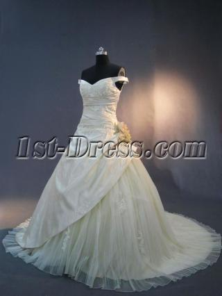 Champagne Off Shoulder Princess Bridal Gown 2013 IMG_3228
