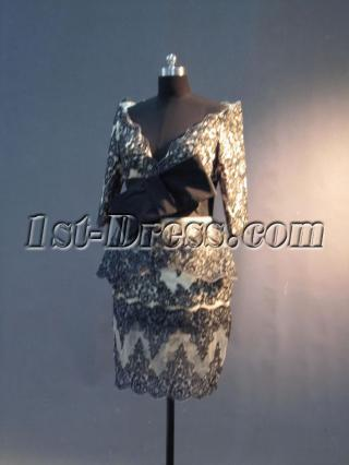 Champagne and Black Short Mother of Groom Formal Gown with Long Sleeves IMG_2958