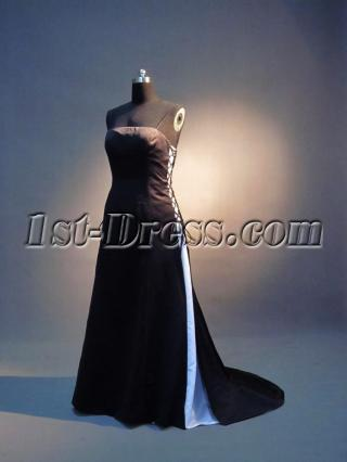 Cheap Long Black and White Bridesmaid Dresses with Train IMG_3631
