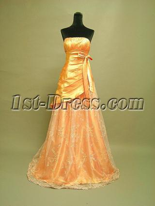 Cheap Orange Strapless Prom Dress 3062