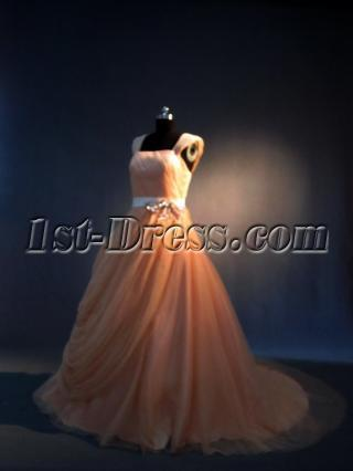 Coral Bridal Gowns with Cap Sleeves IMG_3495