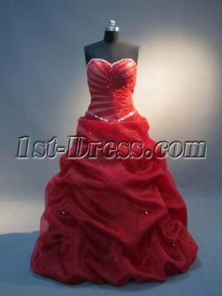 Delicate 15 Quinceanera Dresses Red IMG_4006