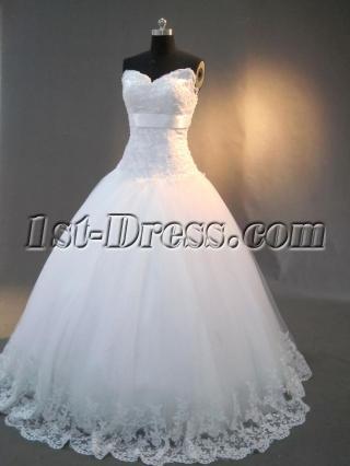 Drop Waist Strapless White Pretty Quinceanera Dresses IMG_3007