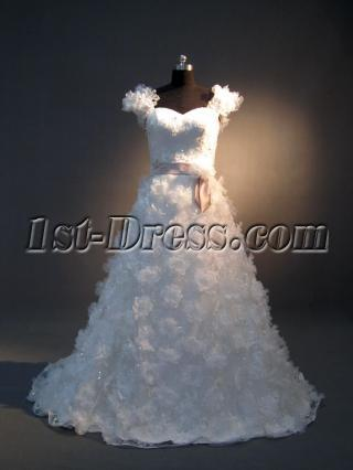 Floral Beautiful Bridal Gown with Cap Sleeves IMG_3672