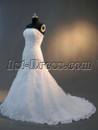 Graceful Mermaid Sweetheart Chapel Lace Bridal Gown IMG_2923