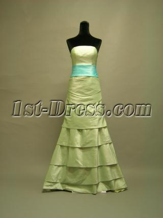 Green Modest Bridesmaid Dress Floor Length 2678