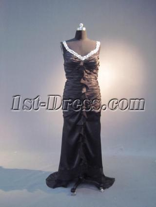 High-low Hem Plus Size Long Black Sheath Prom Dress IMG_3947