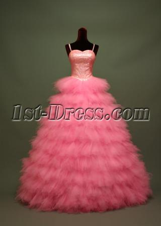 Hot Pink Puffy Beautiful 2012 Sequins Quinceanera Dresses img_6712