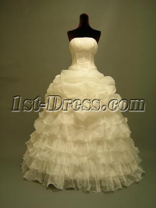 Ivory Tiered Cheap 15 Quince Gown Dress 2703