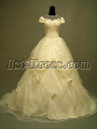 Jewel Brilliant Modest Wedding Gown with Cap Sleeves 2699