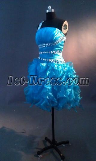 Jeweled Blue Open Back One Shoulder Sweet 16 Dress IMAG0647