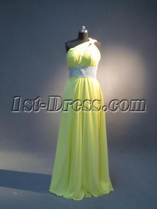Lemon Yellow One Shoulder Long Graduation Dress with Keyhole IMG_3954