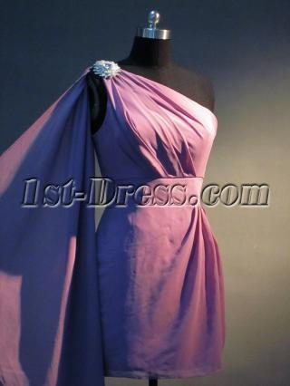 Lilac One Shoulder Short Coctail Prom Dress with Drape Sash IMG_3456