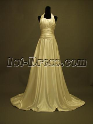 Low Back Halter Floral Casual Wedding Dress 231