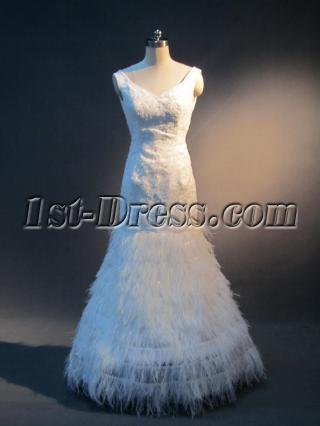 Low Back Sheath Feather Bridal Gown 2012 IMG_4054