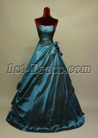 Navy Blue Strapless Masquerade Quinceanera Dresses IMG_6762
