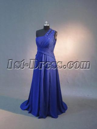 One Shoulder Royal Blue Military Style Party Dresses IMG_3264