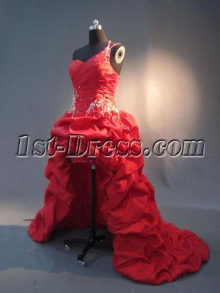 One shoulder Red High Low Hemline Prom Dresses IMG_2966