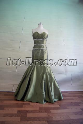 Open Back Mermaid Green Taffeta 2013 Prom Gowns 5052