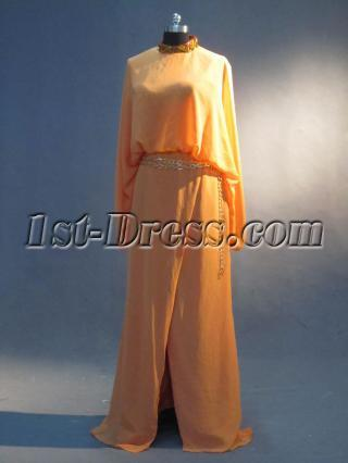 Orange Long Sleve Vintage Celebrity Dresses IMG_3337