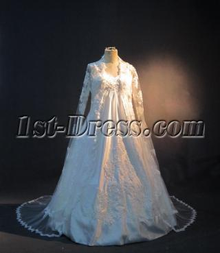 Plus Size Maternity Bridal Gown with Long Sleeves Lace Jacket IMG_3378