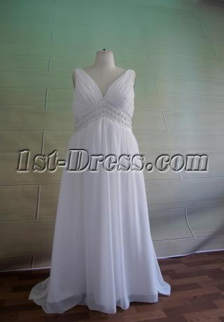 Plus Size V-neckline Maternity Wedding Dress 5049