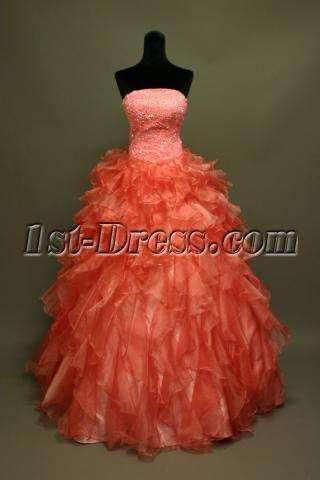 Puffy Coral Pretty Quinceanera Dress IMG_6819