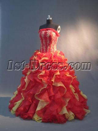 Red and Yellow Unique 15 Quinceanera Gowns IMG_2952