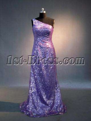 Simple Lilac Sequins Column Evening Dress with One Shoulder 2013 IMG_4012