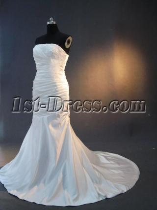 Strapless Cheap Mermaid Trumpet Wedding Dresses with Flower IMG_3053