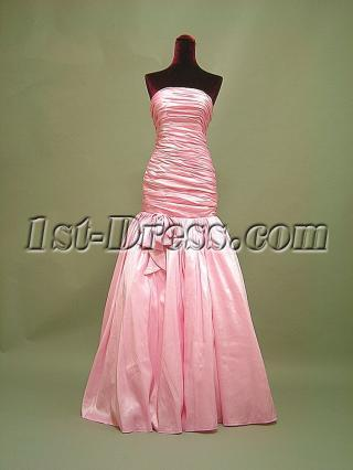 Strapless Rose Pink Mermaid Graduation Dress 3054