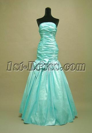 Teal Blue Junior Prom Dress Strapless 3055