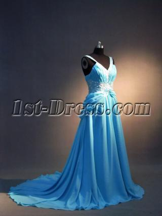 V-neckline Blue Evening Dresses Plus Size IMG_3491
