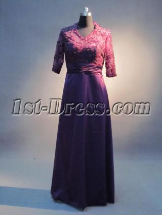 V-neckline Purple Lace Plus Size Formal Mother of Bride Dress IMG_3522