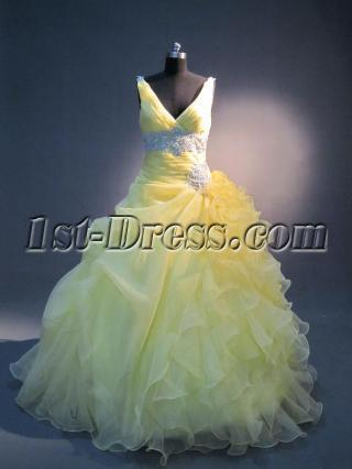 V-neckline Yellow Ruffled 15 Quinceanera Dresses IMG_3759
