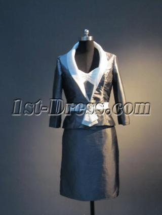 Vintage Silver and White Tea Length Mother of Bride Dresses IMG_3595