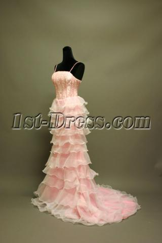White and Pink Stheath Celebrity Prom Dress IMG_6758