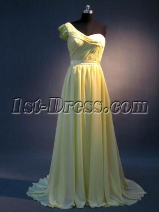 Yellow One Shoulder Classy Evening Dresses IMG_3508