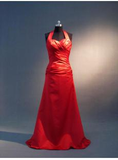 2012 Halter Satin Long Red Bridesmaid Dresses IMG_3663