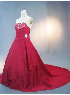 Asymmetric Burgundy Large Size Bridal Gown IMG_3259