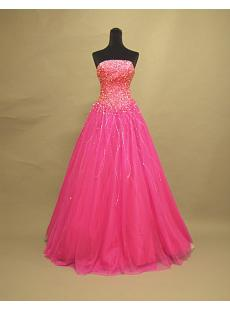 Beaded Luxurious Hot Pink Sweet 16 Dresses 3072