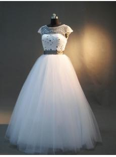 Beaded Modest Princess Quinceanera Dresses with Cap Sleeves IMG_2979